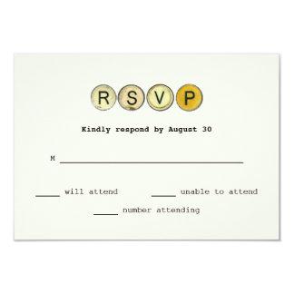 Vintage Typewriter Keys Wedding RSVP Card
