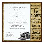 Vintage Typewriter Lesbian Wedding 5.25x5.25 Square Paper Invitation Card