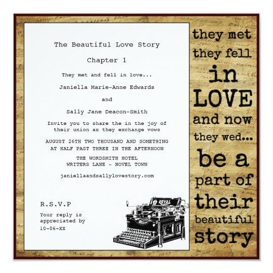 Vintage Typewriter Lesbian Wedding Invitation Zazzle Com