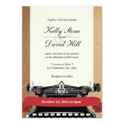 Vintage Typewriter Old Paper Wedding Invitations