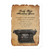 Vintage Typewriter Parchment Wedding Invitation