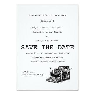 Vintage Typewriter Save The Date Card