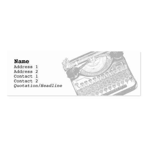 Vintage Typewriter Skinny Profile Cards Business Card