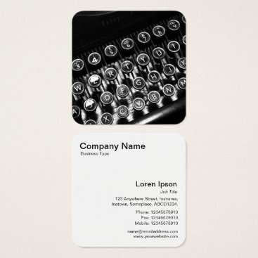 Professional Business Vintage Typewriter Square Business Card