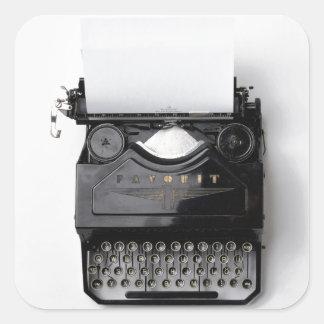 Vintage typewriter square sticker