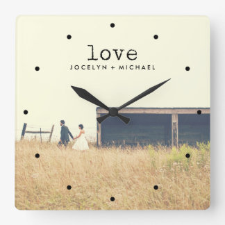 Vintage Typewriter Text Love with Photo Square Wall Clock