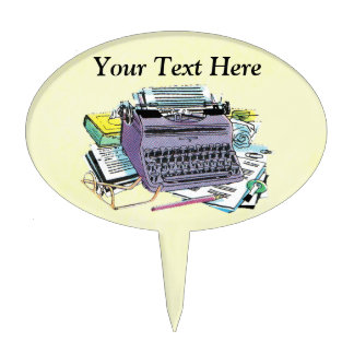Vintage Typewriter With Writers paper Pencils Cake Topper