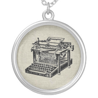 Vintage Typewriter Writer Author Amulet Round Pendant Necklace
