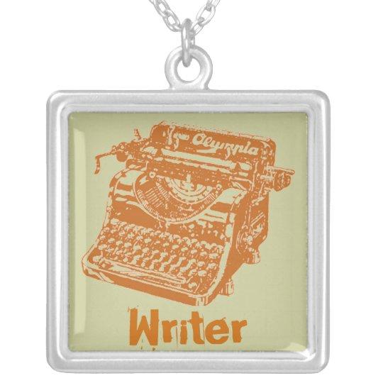 "Vintage Typewriter ""Writer"" Silver Plated Necklace"