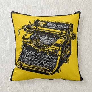 Vintage Typewriter Yellow and Black Pillow