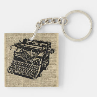 Vintage Typewritter on Dictionary page Keychain