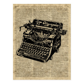 Vintage Typewritter on Dictionary page Postcard
