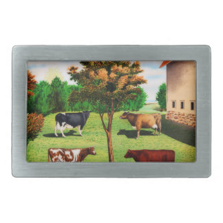 Vintage Typical Cow Breeds On The Farm Belt Buckle