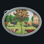 """Vintage Typical Cow Breeds On The Farm Belt Buckle<br><div class=""""desc"""">Fun vintage farm scene with a barn and tree and four cows,  a holstein,  jersey,  ayrshire,  and short horn,  standing around on the grass. The blue sky can be seen off in the distance.</div>"""