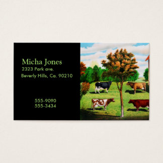 Vintage Typical Cow Breeds On The Farm Business Card