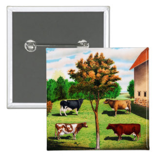 Vintage Typical Cow Breeds On The Farm Button