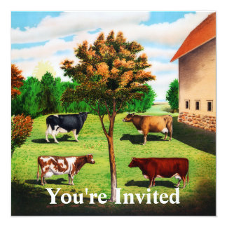 Vintage Typical Cow Breeds On The Farm Card