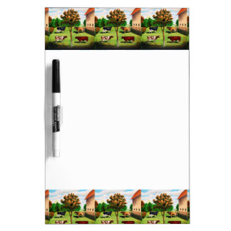 Vintage Typical Cow Breeds On The Farm Dry-Erase Board