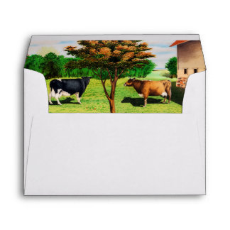 Vintage Typical Cow Breeds On The Farm Envelope