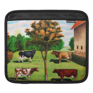 Vintage Typical Cow Breeds On The Farm Sleeve For iPads