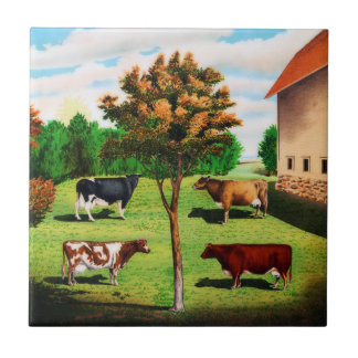 Vintage Typical Cow Breeds On The Farm Ceramic Tiles