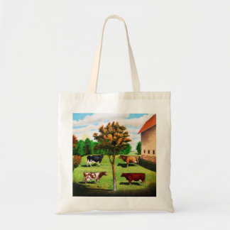 Vintage Typical Cow Breeds On The Farm Tote Bag