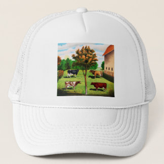 Vintage Typical Cow Breeds On The Farm Trucker Hat