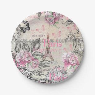 Vintage typo black pink floral Paris Eiffel Tower Paper Plate  sc 1 st  Zazzle & Typo Plates | Zazzle