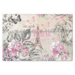 Vintage Typo Black Pink Floral Paris Eiffel Tower Tissue Paper at Zazzle