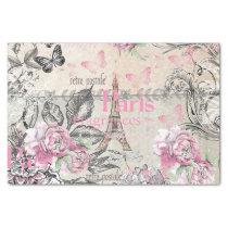 Vintage typo black pink floral Paris Eiffel Tower Tissue Paper