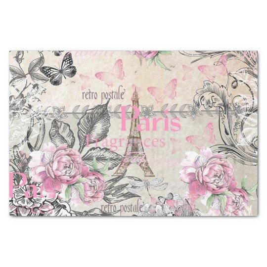 As Creation Pink Paris Pattern Eiffel Tower Childrens: Vintage Typo Black Pink Floral Paris Eiffel Tower Tissue