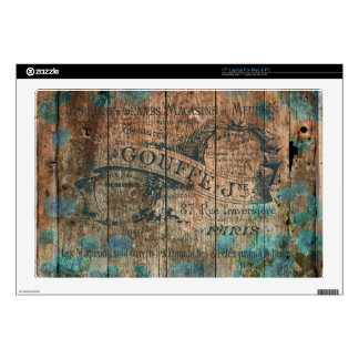 "Vintage typo brown turquoise french historical 17"" laptop skin"