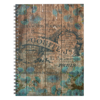Vintage typo brown turquoise french historical notebook