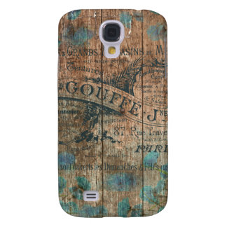 Vintage typo brown turquoise french historical samsung galaxy s4 case