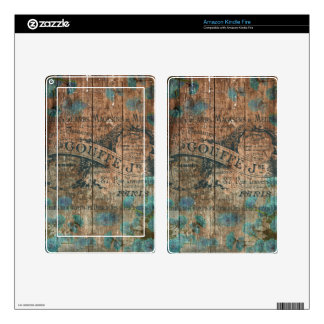 Vintage typo brown turquoise french historical skin for kindle fire