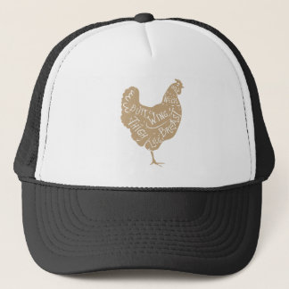Vintage typographic chicken butcher cuts diagram trucker hat