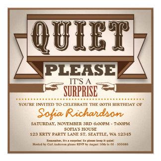 vintage typographic surprise birthday party invite