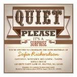 "vintage typographic surprise birthday party invite 5.25"" square invitation card"