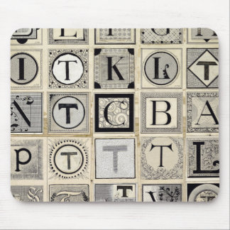Vintage Typographical Letters Mouse Pad
