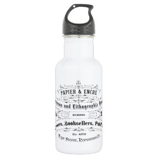 vintage typography advert booksellers 18oz water bottle