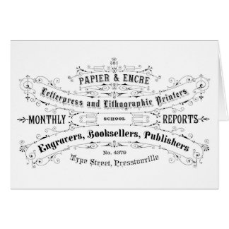 vintage typography advert booksellers card