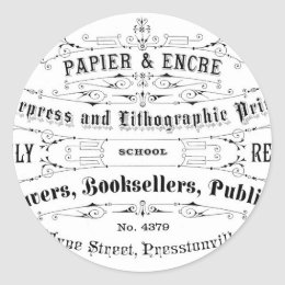 vintage typography advert booksellers classic round sticker