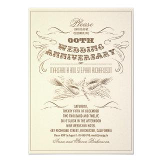 "vintage typography aged anniversary invitations 5"" x 7"" invitation card"