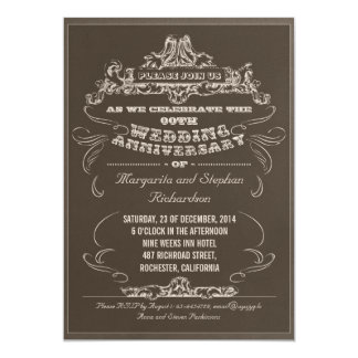 vintage typography aged anniversary invitations