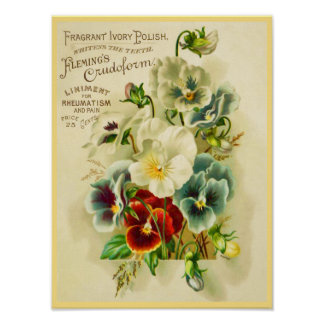 Vintage Typography and Decorative Pansy Flowers Poster