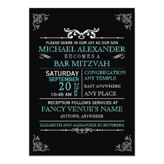 Vintage Typography Bar-Bat Mitzvah 5x7 Card