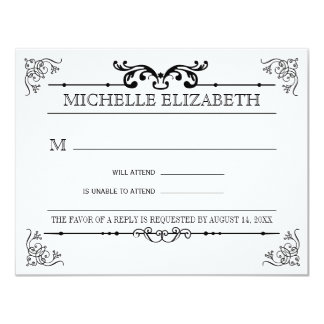 Vintage Typography Bar-Bat Mitzvah Reply Card