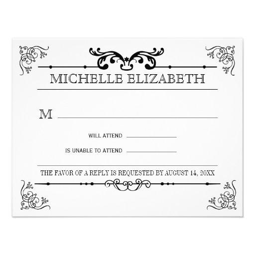 Vintage Typography Bar-Bat Mitzvah Reply Custom Invitations
