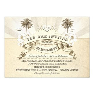 vintage typography beach wedding invitations