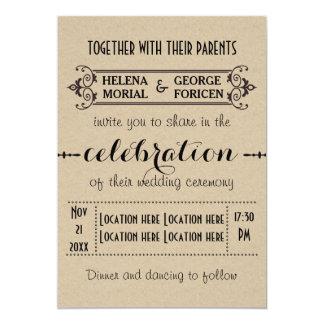 Vintage typography beige craft paper wedding cards